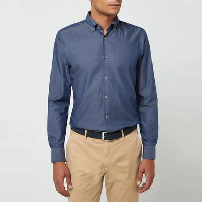 Joop! Collar Shirts Chambray Button-Down Collar Slim Dress Shirt - Gotstyle The Menswear Store