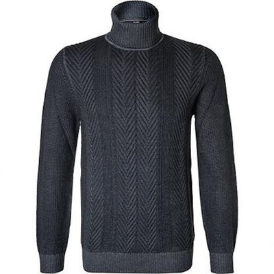 Joop! Sweaters Cable Knit Melange Wool Turtleneck Sweater - Gotstyle The Menswear Store