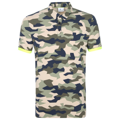 Gotstyle - Blue Industry Polos Geo Camo Polo with Contrast Tipping - Army