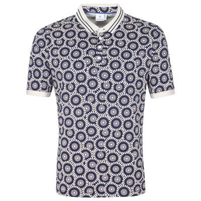 Gotstyle - Blue Industry Polos Geo Floral Print Polo - Navy
