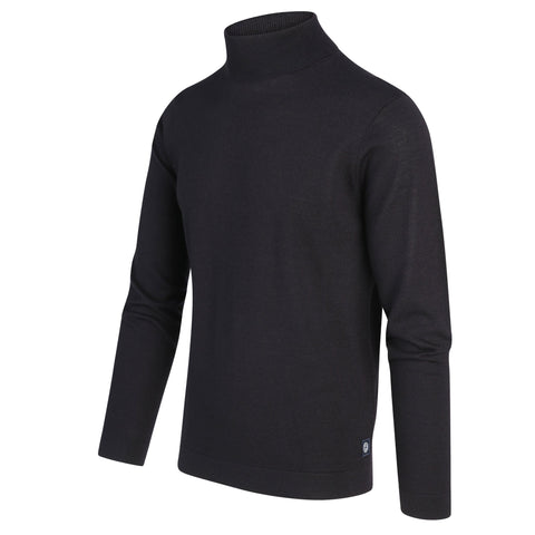 Blue Industry MS - Sweaters - Casual Solid Merino Wool Blend Turtleneck Sweater - Black - Gotstyle The Menswear Store