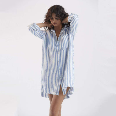 Gotstyle - Melissa Nepton Dresses Linen Stripe Shirt Dress