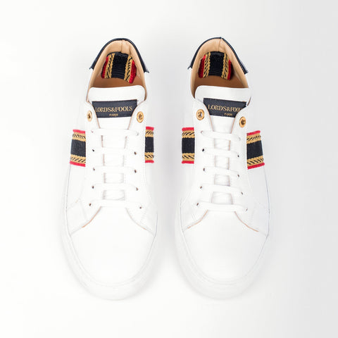 Lords & Fools MF - Casual Shoes Low Leather Sneaker w Band White - Gotstyle The Menswear Store