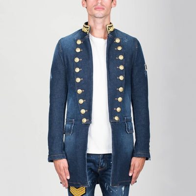 Military Style Denim Coat Blue - Gotstyle The Menswear Store