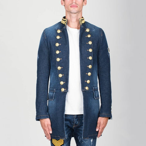 Military Style Denim Coat Blue