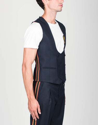 Lords & Fools MS - Blazers Double Breasted Twill Vest w Side Bands - Gotstyle The Menswear Store