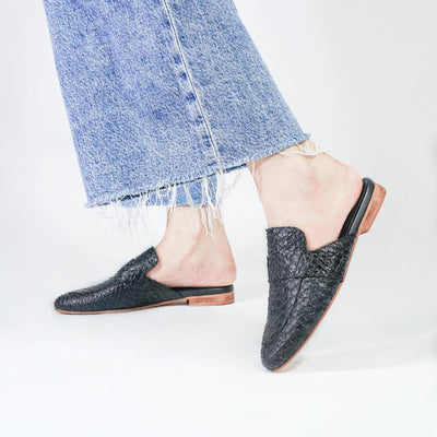 Gotstyle - KAANAS Shoes Milan Snake-Embossed Leather Loafer Mules