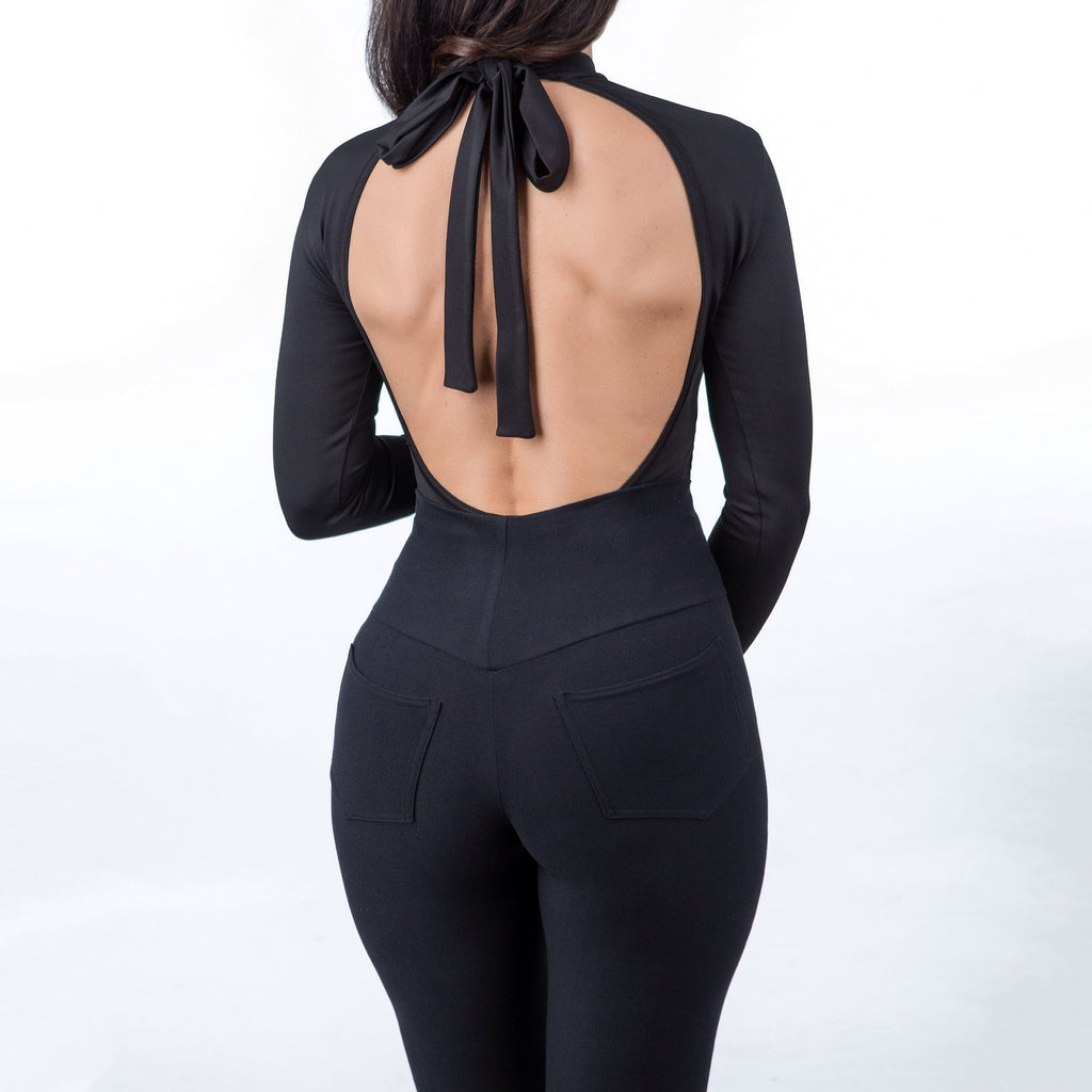 Miss Matahari Dresses Courage Longsleeve Open Back Bodysuit - Gotstyle The Menswear Store