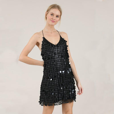 Molly Bracken Dresses Mini Disco Dress with Large Sequins - Gotstyle The Menswear Store