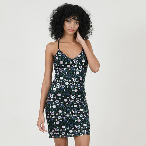 Molly Bracken Dresses Sequined Pattern Strap Dress - Gotstyle The Menswear Store