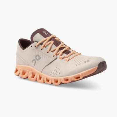 On Running Shoes Cloud X Fully Cushioned Running Sneaker - Silver/Almond - Gotstyle The Menswear Store