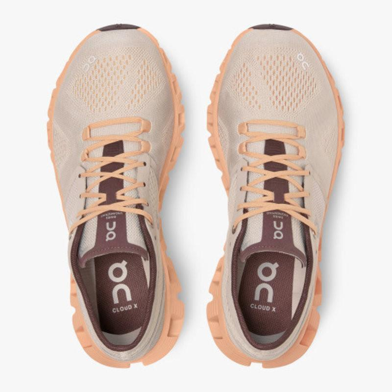 On Running Footwear Cloud X Fully Cushioned Running Sneaker - Silver/Almond - Gotstyle The Menswear Store