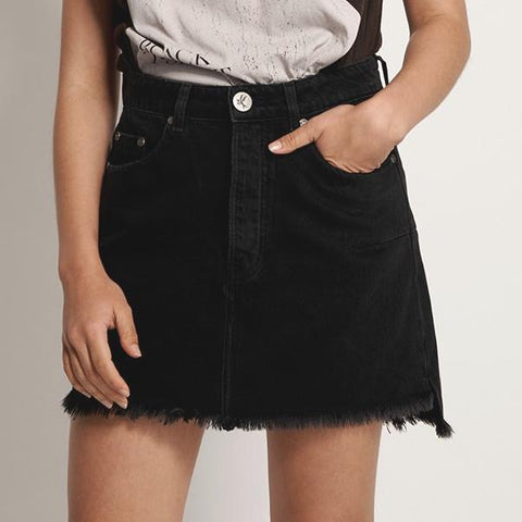 One Teaspoon Denim Vanguard Mid Rise Relaxed Denim Mini Skirt - Gotstyle The Menswear Store