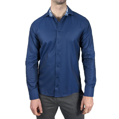 Oscar of Sweden Collar Shirts Solid Twill Shirt with Geo Floral Trim - Gotstyle The Menswear Store