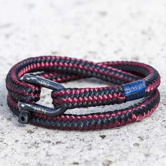 Pig & Hen MA - Jewellery - General Salty Steve Wrap Rope Bracelet w Shackle - Bordeaux - Gotstyle The Menswear Store