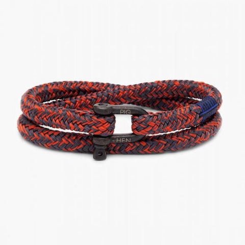 Pig & Hen MA - Jewellery - General Salty Steve Wrap Rope Bracelet with Shackle - Slate Grey/Coral Red - Gotstyle The Menswear Store