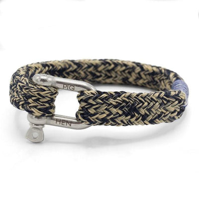 Pig & Hen Jewellery Gorgeous George Flat Rope Bracelet with Shackle - Navy/Sand - Gotstyle The Menswear Store