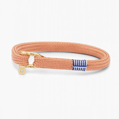 Pig & Hen MA - Jewellery - General Vicious Vik Flat Braid Bracelet with Shackle - Old Pink - Gotstyle The Menswear Store