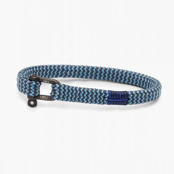 Pig & Hen MA - Jewellery - General Vicious Vik Flat Braid Bracelet with Shackle - Sky Blue/Slate Grey - Gotstyle The Menswear Store