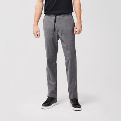 Wool Blend Pant with Drawstring Elastic Waistband - Charcoal - GOTSTYLE