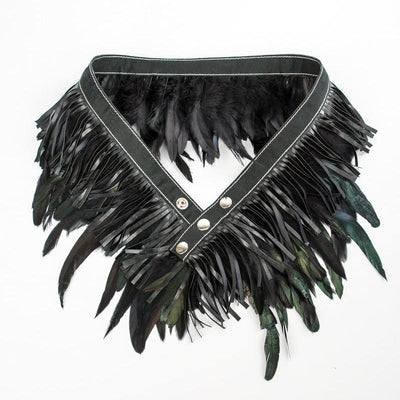 Miss Matahari Belts Feather n' Fringe Belt - Black / Leather - Gotstyle The Menswear Store