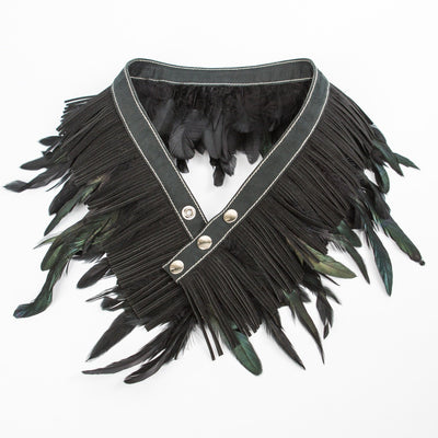 Miss Matahari Belts Feather n' Fringe Belt - Black / Suede - Gotstyle The Menswear Store