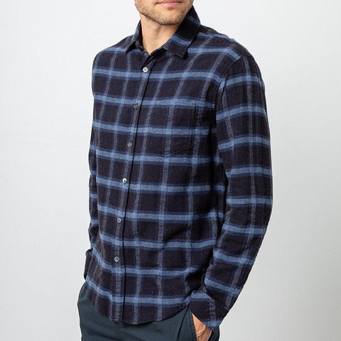 Brushed Lennox Plaid Soft Flannel Shirt - Navy