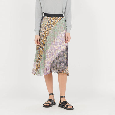 Gotstyle - Suncoo Skirts Arty Print Pleated Skirt with Lurex Details