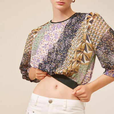 Gotstyle - Suncoo Blouses Arty Print Top with Lurex Details