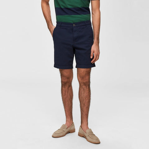 Selected Homme MS - Shorts Regular Fit Stretch Cotton Chino Short - Dark Sapphire - Gotstyle The Menswear Store