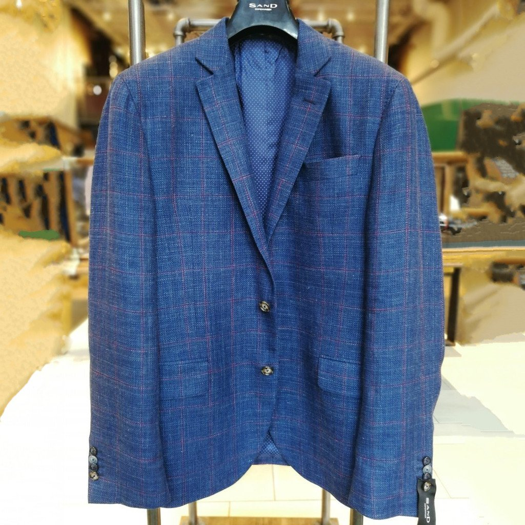 Sand Copenhagen MS - Blazers Windowpane Wool/Linen Sport Coat Navy - Gotstyle The Menswear Store
