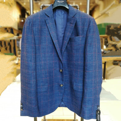Sand Copenhagen Blazers Windowpane Wool/Linen Sport Coat Navy - Gotstyle The Menswear Store