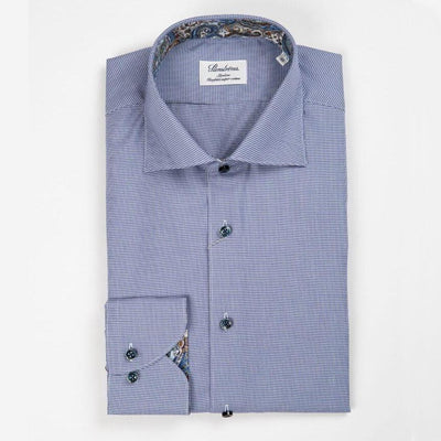 Houndstooth Two Fold Super Cotton Shirt w Contrasts - Gotstyle The Menswear Store
