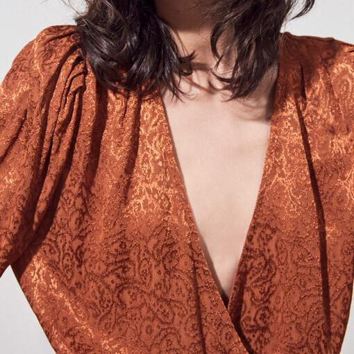 Suncoo Tops Luce Jacquard Wrap Fluid Short Blouse - Gotstyle The Menswear Store