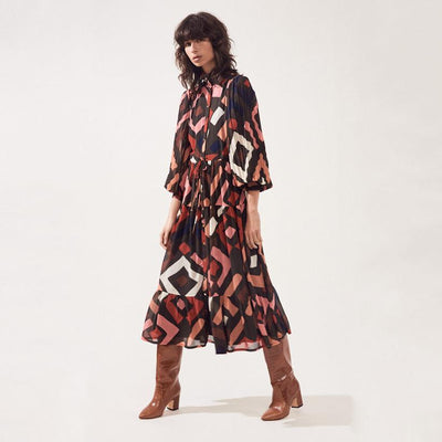 Suncoo Dresses Chelby Geometric Retro Print Long Shirt Dress - Gotstyle The Menswear Store