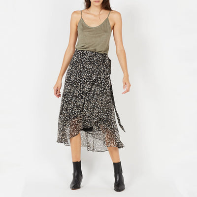 Suncoo Skirts Florie Print Midi Wrap Ruffle Skirt - Gotstyle The Menswear Store