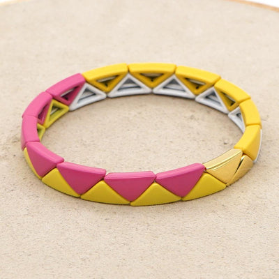 Gotstyle - Gotstyle Jewellery Triangle Tiles Bracelet - Pink/Yellow