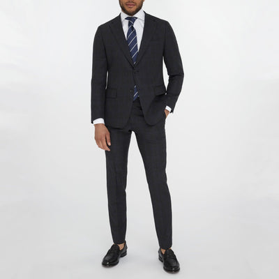 Gotstyle - Van Gils Suits Windowpane Textured Wool Suit - Charcoal