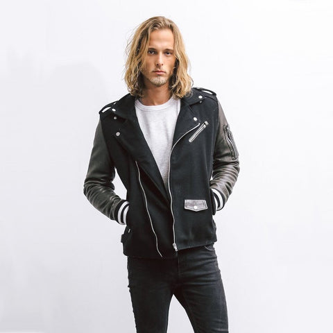 BE EDGY MS - Outerwear - General BElopez Wool/Leather Moto Jacket - Gotstyle The Menswear Store