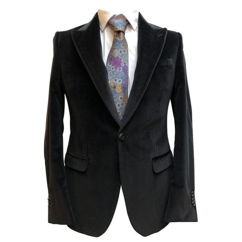 Italian Velvet Peak Lapel Blazer In Black