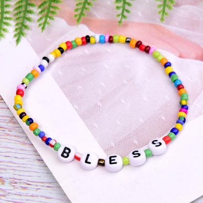Gotstyle - Gotstyle Jewellery Beaded Letters Charm Bracelet - Bless
