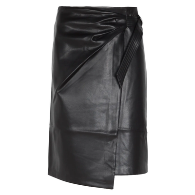 Suncoo Skirts Flora Straight Faux Leather Skirt - Black - Gotstyle The Menswear Store