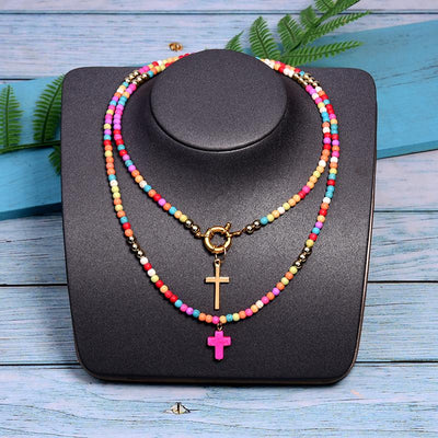 Gotstyle - Gotstyle Jewellery Beaded Dual Cross Pendant Necklace