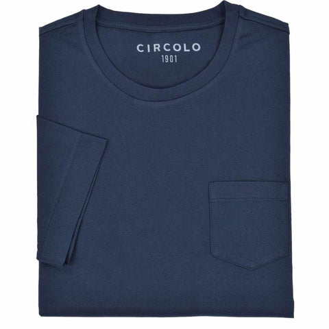 Circolo 1901 MS - Casual Tops - Tshirts Mercerized Pocket Crewneck Tee - Gotstyle The Menswear Store