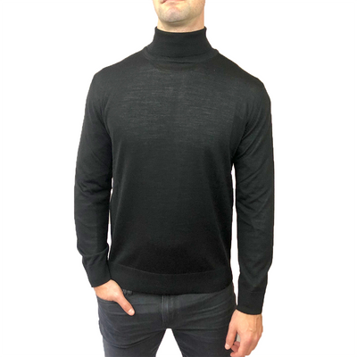 Horst Sweaters Italian Merino Wool Blend Turtleneck - Black - Gotstyle The Menswear Store