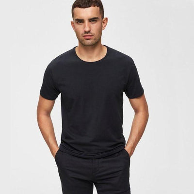 Selected Homme T-Shirts Pima Cotton Crew Neck T-Shirt Black - Gotstyle The Menswear Store