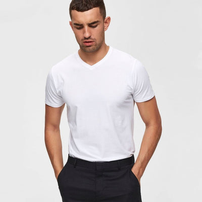 Gotstyle - Selected Homme T-Shirts Pima Cotton V-Neck T-Shirt White