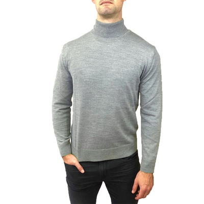 Horst Sweaters Italian Merino Wool Blend Turtleneck - Light Grey - Gotstyle The Menswear Store