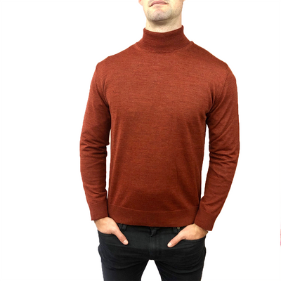 Horst Sweaters Italian Merino Wool Blend Turtleneck - Rust - Gotstyle The Menswear Store