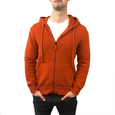 Benson Sweatshirts Solid Knit Zip Up Hooded Sweater - Orange - Gotstyle The Menswear Store
